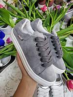 Серые кеды кроссовки детские подростковые на белой подошве натуралки размер 32-41