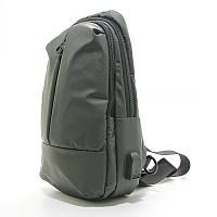 Рюкзак зеленый usb-1001 мужской текстильный на одно плечо банан слинг