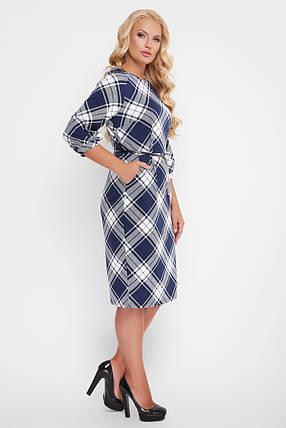 Трикотажне жіноче плаття Кейт синя клітинка, фото 2