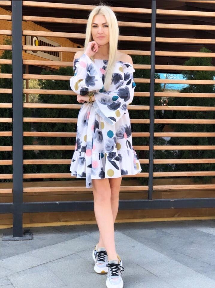 """Короткое летнее платье """"Nicole"""" с оголенными плечами"""