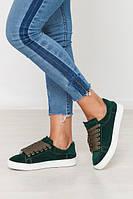 Зеленые кеды кроссовки детские подростковые замшевые весна лето размер 32 - 41
