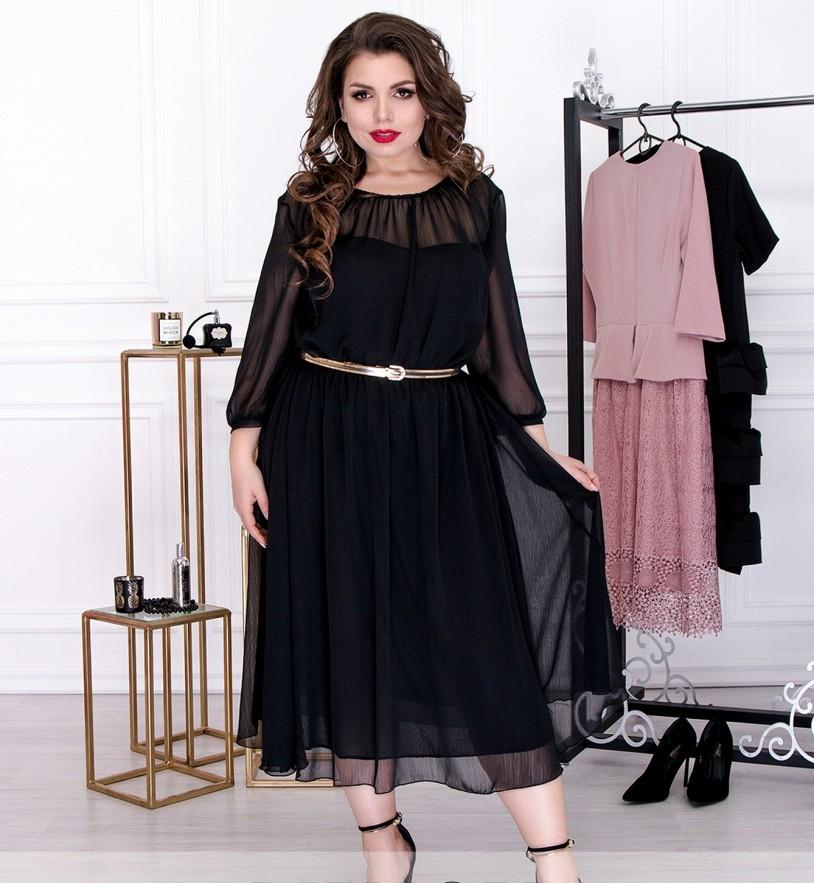 968c7b3dcda06d3 Размер 48,50,52,54 / Женское летящее шифоновое платье с тонким ...