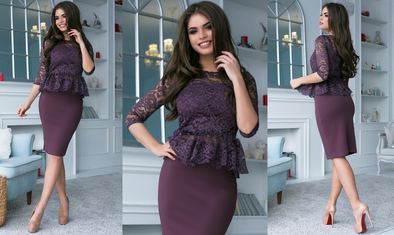 """Нарядный женский костюм-двойка """"Ivona"""" с кружевной блузой (5 цветов)"""