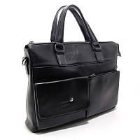 Мужская сумка-портфель Mont Blanc черная кожаная для документов или ноутбука, фото 1