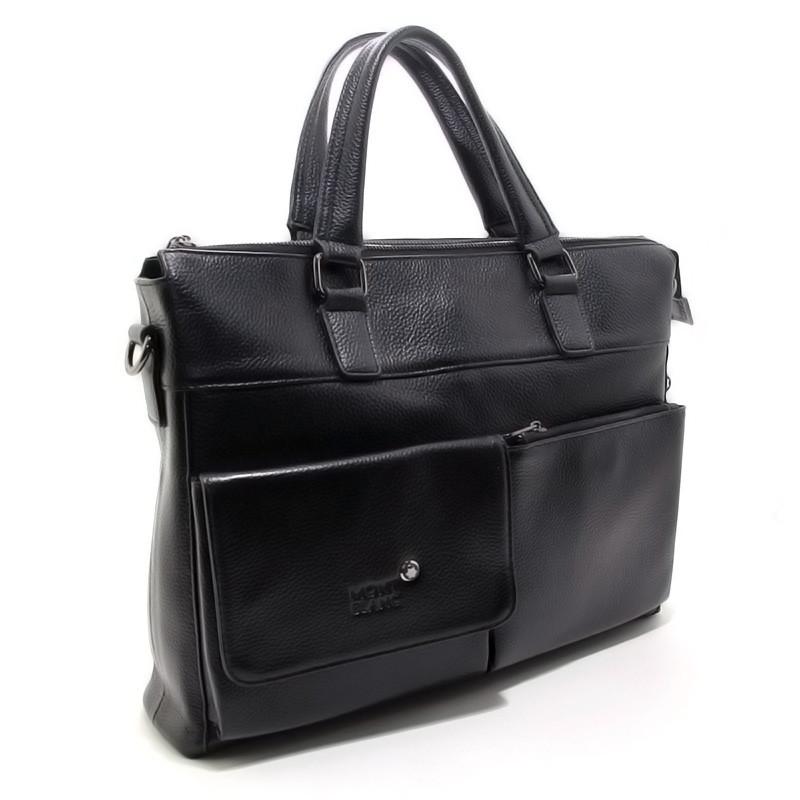 28fa6a4b43f7 Мужская сумка-портфель Mont Blanc черная кожаная для документов или  ноутбука, фото 1