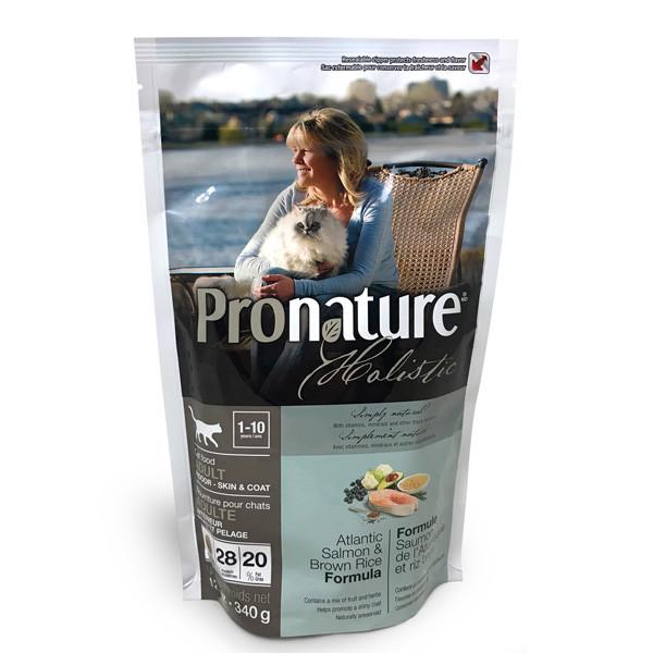 Сухий корм для дорослих котів Pronature Holistic Adult з атлантичним лососем і коричневим рисом 340 гр