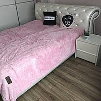 Меховой плед травка на диван ALBO 220х240 cm Нежно Розовое (P-B21)