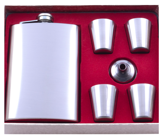 Подарочный набор с Флягой, лейкой, 4 рюмками TZ-11