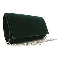 Вечерний велюровый клатч rh-8728-1 gre зеленый маленький на цепочке, фото 1