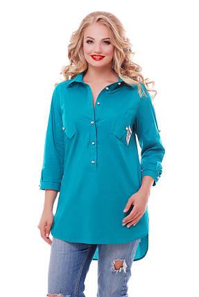Рубашка женская Стиль бирюза Размеры 48, 50, 52, 54, 56, 58., фото 2