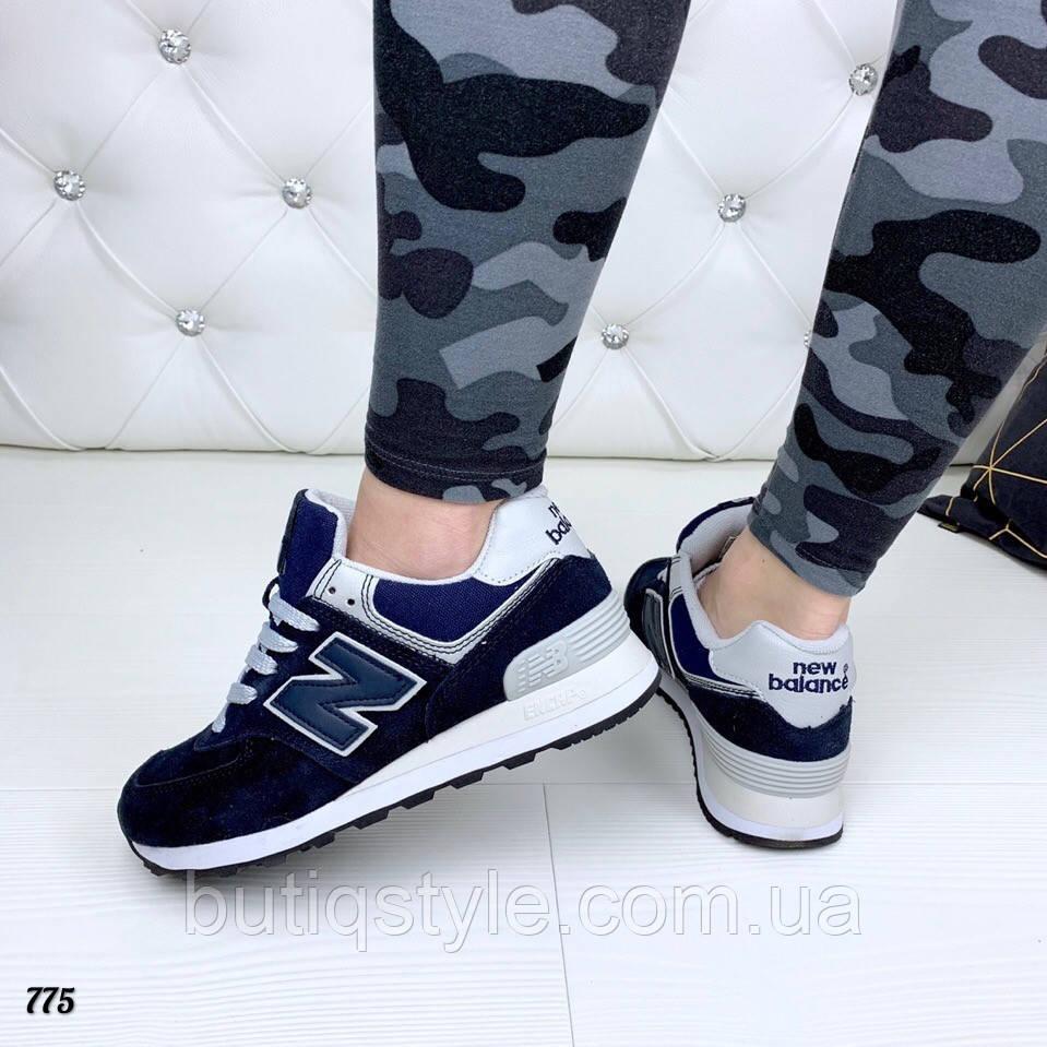 41 размер! Женские синие кроссовки New B натуральный замш + сетка
