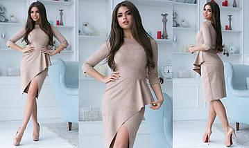 """Облегающее замшевое миди-платье """"Шопен"""" с баской и разрезом (4 цвета), фото 3"""