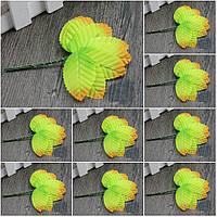 (200шт) ОПТ Листочки на проволоке (цена за 200 шт) Цвет - Салатовый с коричневым кончиком