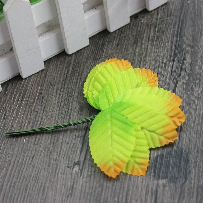 (10шт) Листочки на проволоке (цена за 10 шт) Цвет - Салатовый с коричневым кончиком