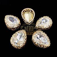 Стразы в ажурных золотых цапах Люкс, форма Капля, цвет Crystal, 13х18мм, 1шт