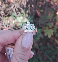 Серебряное кольцо с золотыми напайками Корона 550у