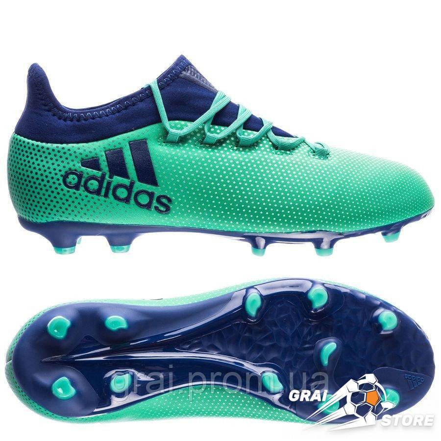 b1e9d939 Детские бутсы adidas X 17.1 FG/AG Green/Blue - Интернет магазин Грай в