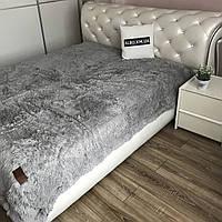 Меховой плед покрывало на кровать ALBO 160х200 cm Серое (P-b24)