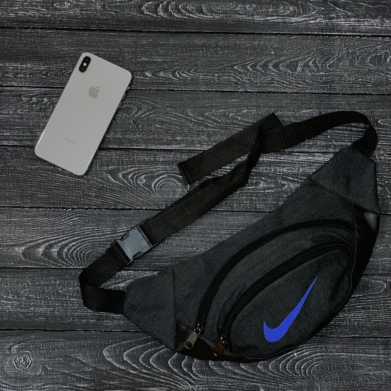 7acc9b71 Поясная сумка, бананка, сумка на пояс Nike, цвет черный меланж (синие лого