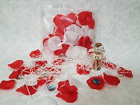 Пелюстки троянд червоно-білі штучні 150 шт.