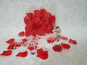 Пелюстки троянд на весілля червоні 150 шт.