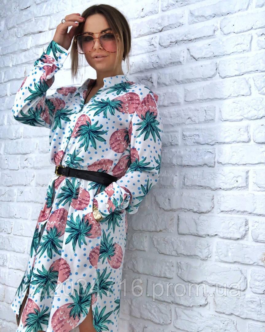 Летнее Платье рубашка с карманами
