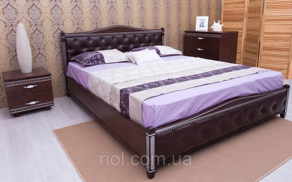 Ліжко Прованс з підйомним механізмом з патиною, фрезеруванням і м'якою спинкою ромб ТМ Олімп