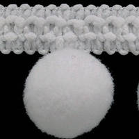 Тесьма с помпонами 20 мм БЕЛАЯ (декоративная), фото 1