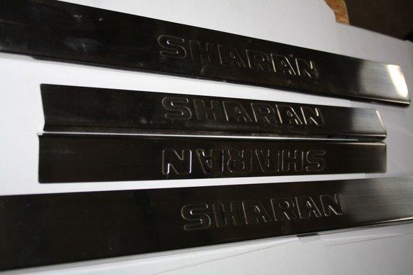 Накладки на пороги Carmos (с надписью, 4 шт, нерж) Volkswagen Sharan 1995-2010 гг.