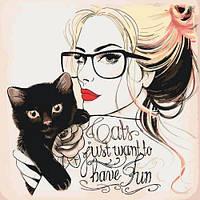 Картина раскраска по номерам Идейка КНО2679 Кошечки