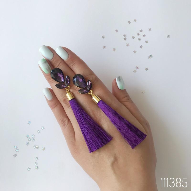 Серьги кисти Сара фиолетовые