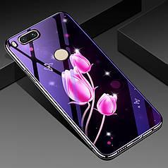 Чехол Glass-case для Xiaomi Mi A1 / Mi5X бампер накладка Flowers