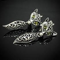 Серебряные серьги Лиса, фото 3