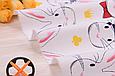 Сатин (бавовняна тканина) на білому зайчики в капелюхах, фото 2