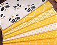 Сатин (хлопковая ткань) панды с коронами, фото 3