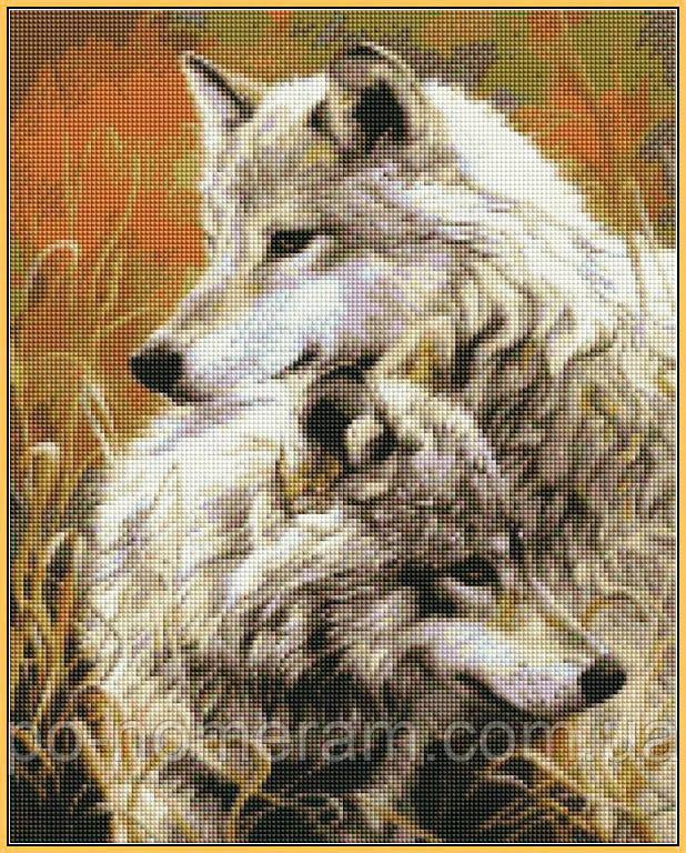Алмазная вышивка на подрамнике пара волков купить