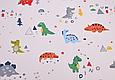 Сатин (хлопковая ткань) акварельные динозавры, фото 2