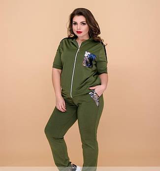 / Размер 50-52,54-56 / Женский костюм с двухсторонними пайетками / 640-хаки