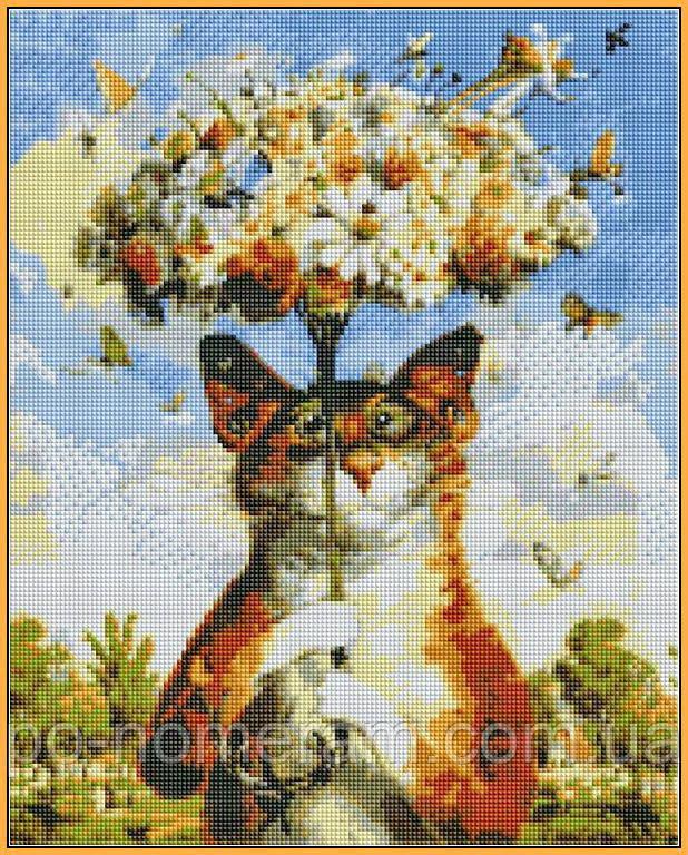 алмазная мозаика на подрамнике кот с ромашками
