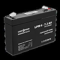 Аккумулятор AGM LogicPower LPM 6-7,2 AH, фото 1