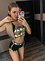 Женский спортивный костюм с шортами яркого   цвета с топом , фото 1