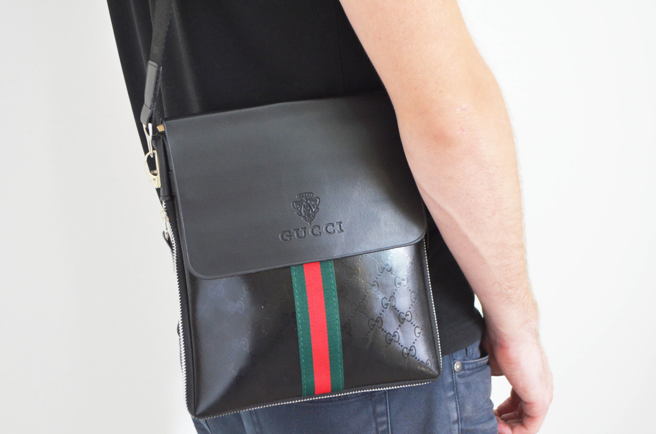 Мужская сумка Gucci(Гуччи) через плечо копия, дроп и опт, брендовая
