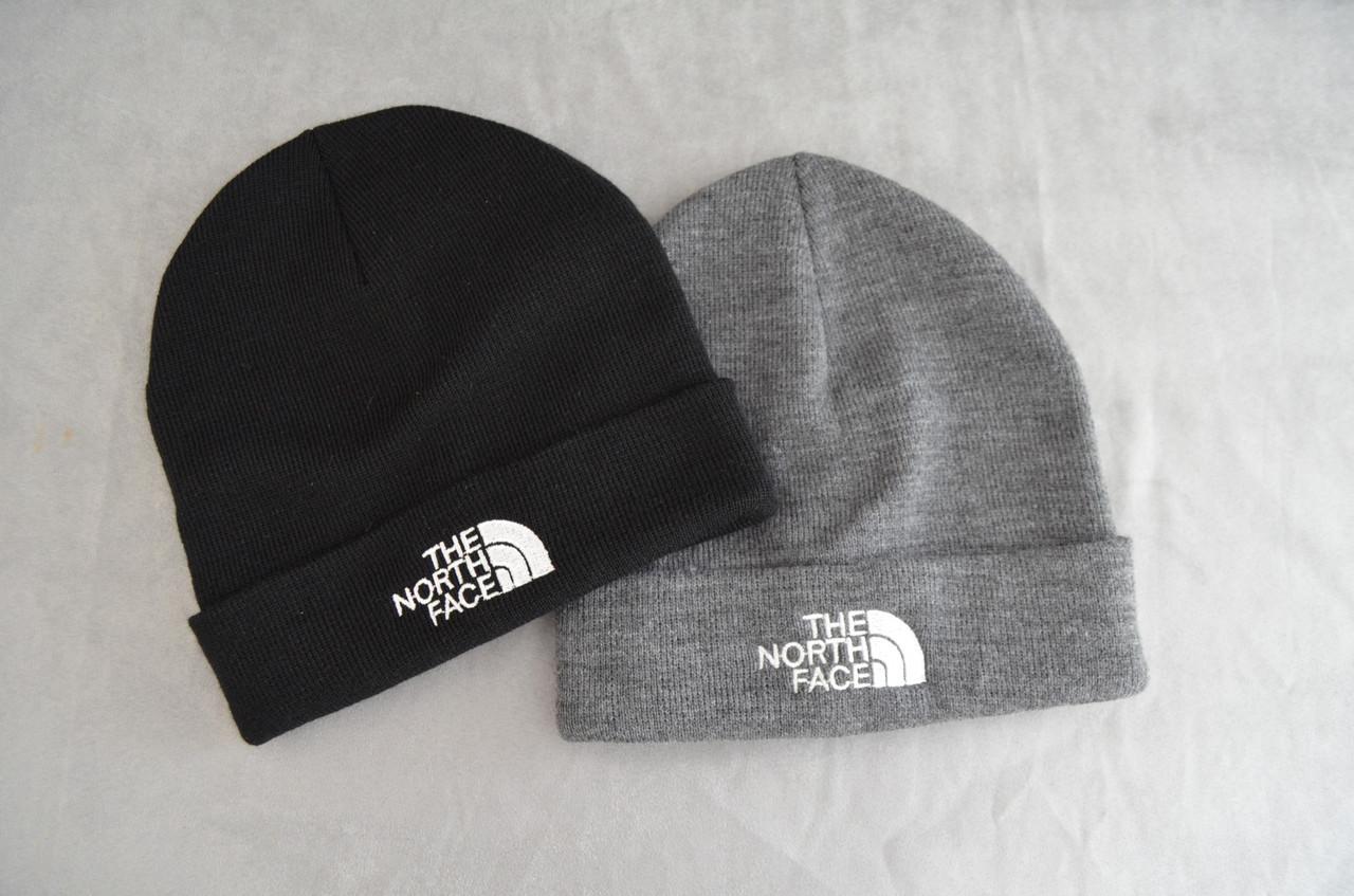 Теплая зимняя шапка The North Face, черная, серая, тепла шапка, норт фейс