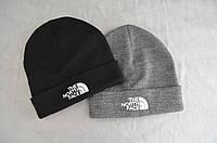 Теплая зимняя шапка The North Face, черная, серая, тепла шапка, норт фейс, фото 1