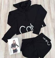 Женский комплект Calvin Klein, женский набор Кельвин кляин (топ с капюшоном и шорты),