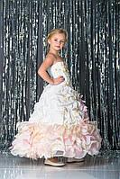 Шикарное детское выпускное платье для девочки Silk Road на утренник Новый Год 01488 122-128 персиковые рюшки