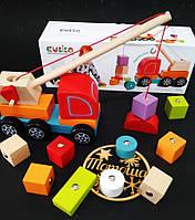 Деревянная машинка Авто-кран с магнитными блоками Кубика / Магнітний кран Cubika, Левеня  13982, фото 1