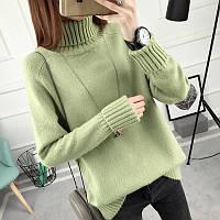 Женский однотонный свитер весна/осень с воротником зеленый, фото 1