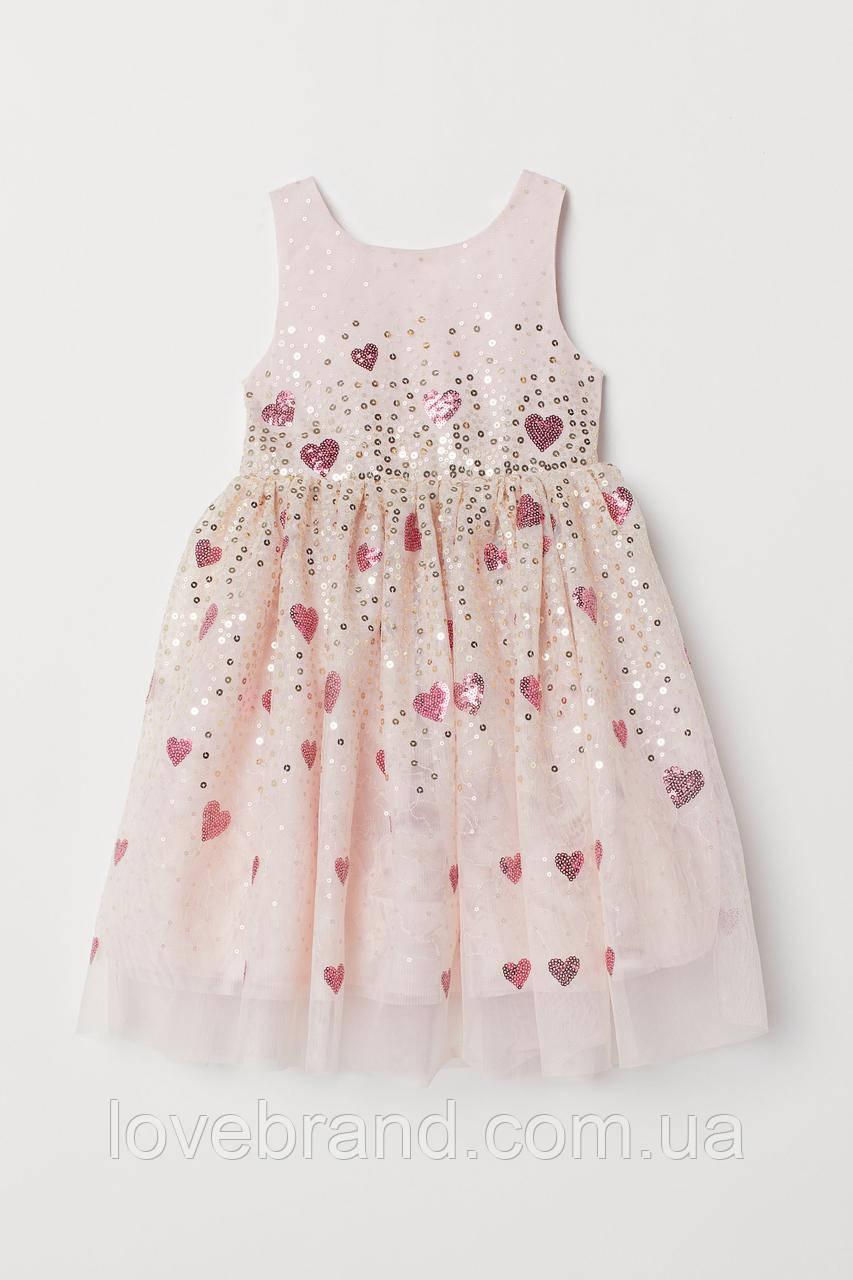 Нарядное платье для девочки H&M 1.5-2 г./92 см, детское платье с фатином и паетками розовое ейч енд ем