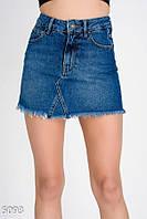 Облегающая джинсовая мини-юбка с необработанными краями